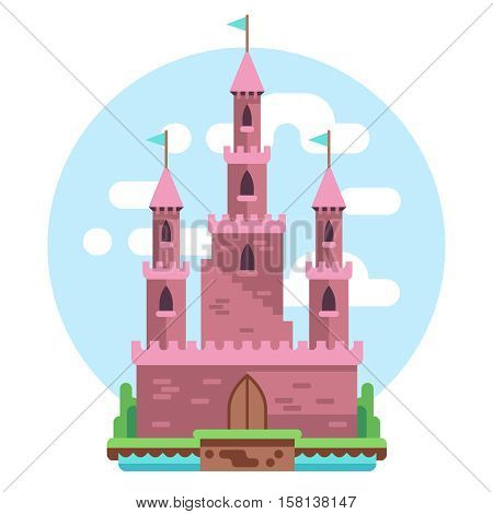 Cartoon fairy tale pink alcazar castle vector illustration. princess pink mysterious house with flags and gate. Medieval castle with towers