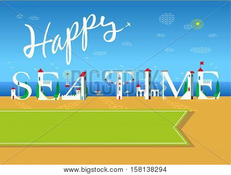 Happy sea time. Travel card. White buildings on the summer beach. banner for custom text. Plane in the sky.