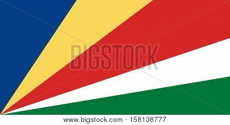 Official vector flag of Seychelles . Republic of Seychelles .