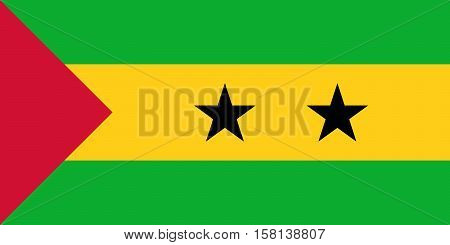 Official vector flag of Sao Tome and Principe . Democratic Republic of Sao Tome and Principe .