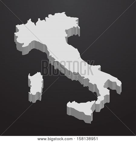 Italy map in gray on a black background 3d