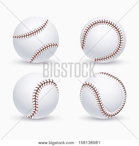 Baseball ball, softball, baseball equipment vector icons. Balls for baseball game, illustration of equipment for play baseball