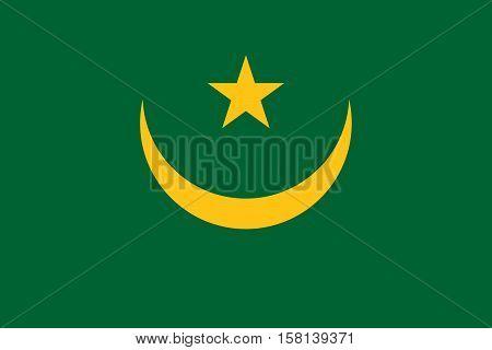 Official vector flag of Mauritania . Islamic Republic of Mauritania .
