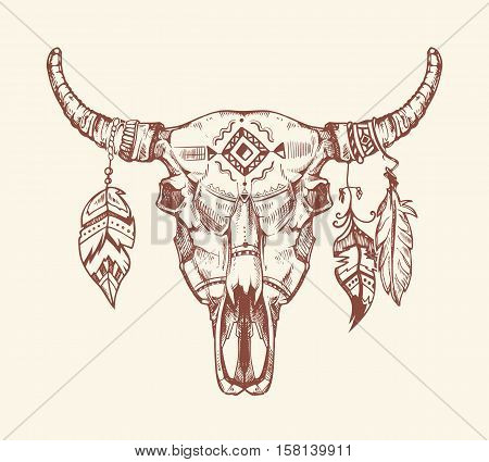 Aztec tribal buffalo skull vector t-shirt print, tattoo. Dead animal cow skull totem with feathers. Hand drawn skull cow illustration