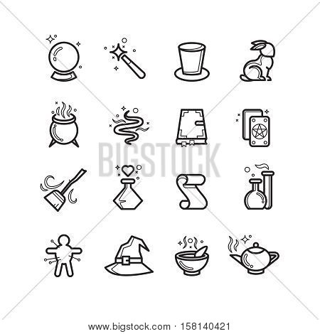 Magic and magician tools thin line vector icons. Bottle with magic potion, vector linear flask for magic illustration