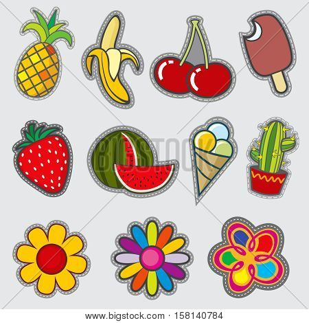 Retro badge patches, fun vector trendy stickers. Badge color flower and strawberries, illustration of embroidery badge watermelon and ice cream