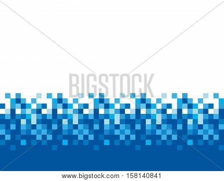 Pixel square tiles, mosaic vector abstract background. Pixel blue pattern, illustration of square pixel