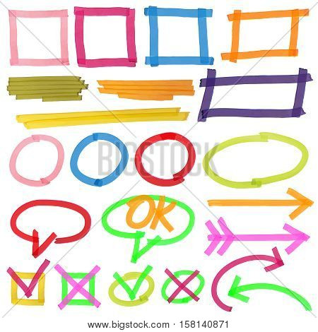 Highlighter marks, stripes, strokes, frames, speech bubbles, crosses, ticks and arrows vector set. Elements drawn with colored marker illustration