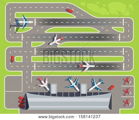 Airport with passenger terminal, airplanes, helicopters top view vector illustration. Building airport terminal, runway for landing plane to airport