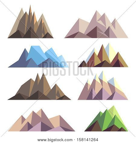 Mountains in polygon origami style vector elements for landscape. Set of mountain peak, illustration of nature mountain