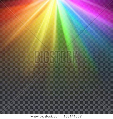 Rainbow glare spectrum with gay pride colors vector illustration. Spectrum color shiny, bright abstract spectrum light poster