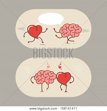 The brain and the heart of love and friendship. A set of vector cartoon icons.