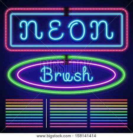 Vintage neon electric stroke custom pattern brushes, casino and xmas light border vector set. Neon line for casino, luminous neon stroke illustration