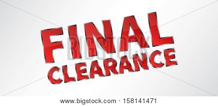 Banner Final Clearance vector illustration on grey background. Final Clearance horizontal creative concept for website banners retail stores advertising.