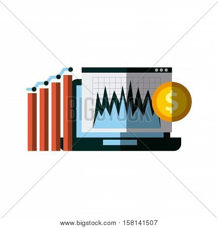 laptop computer with graphic charts and gold coin over white background. invest money and business concept. colorful design. vector illustration