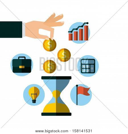 sandclock and human hand with  invest money and business icons around. colorful design. vector illustration