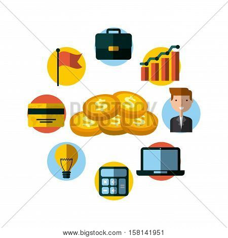 gold coins with invest money and business icons around. colorful design. vector illustration