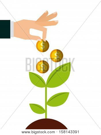 green plant and hand with gold money coins over white background. growth funds economy concept. colorful design. vector illustration