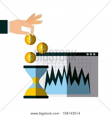 sandclok and hand with gold coins over white background. invest money and business concept. colorful design. vector illustration