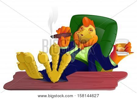 Red gold fat cock boss with cigar and whiskey put his feet on table. Rooster symbol 2017. Isolated on white vector cartoon illustration
