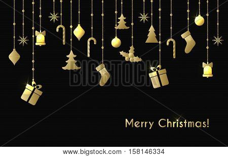Christmas vector greeting card with hanging gold shine christmas toys, gift boxes on a black background