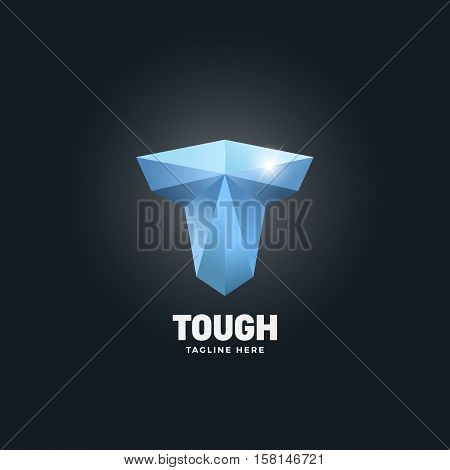 Diamond Tough Letter T. Abstract Vector Emblem, Sign or Logo Template. Strength Symbol. Mighty Torso Silhouette. On Dark Background.