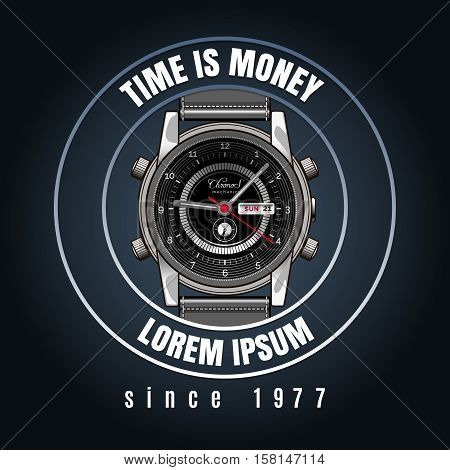 Classic wrist watches shop emblem with time is money text. Vector ilustration