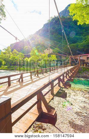 Kamikochi Japanese Alps Kappa Bashi Bridge Sun