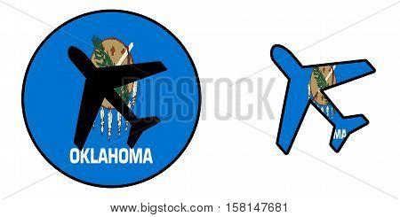 Nation Flag - Airplane Isolated - Oklahoma