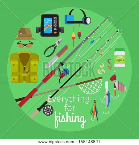 Everything for fishing vector cartoon illustration in circle shape on the geen background