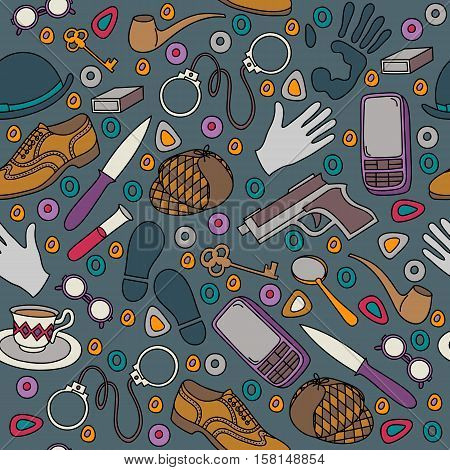 Cartoon cute doodles hand drawn Detective and criminal seamless pattern. Colorful detailed vector illustration