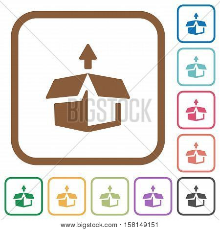 Unpack simple icons in color rounded square frames on white background