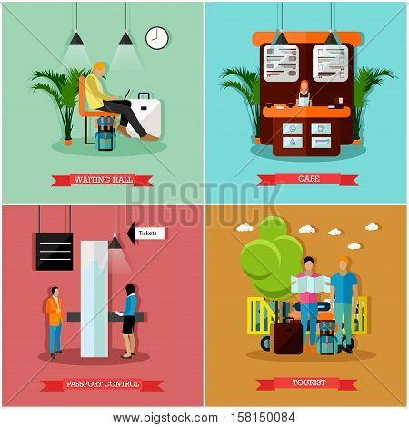 Vector set of airport concept design elements in flat style. Waiting hall, cafe, passport control, tourists after arrival. Travel by air.