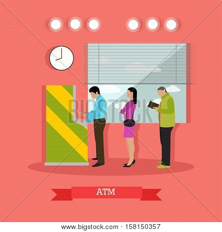 Vector illustration of ATM and people standing in queue for cash money in flat style. Automated teller machine, automatic cash terminal. Banking and finance concept design element in flat style
