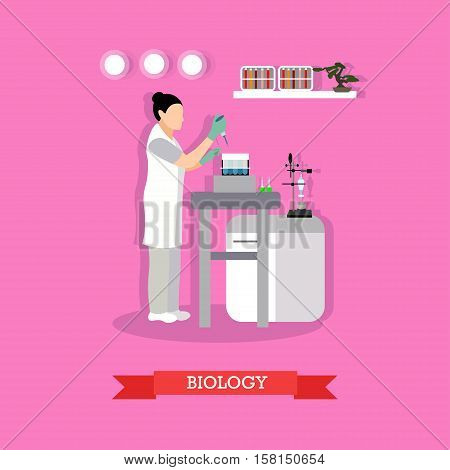 Biological research concept vector illustration in flat style. Biological laboratory interior. Biologist woman is working with laboratory glassware and equipment.