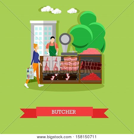 Vector illustration of butcher in flat style. Buyer woman is going to do shopping. Meat, bacon, frankfurters, salami. Stall in the market with meat products.