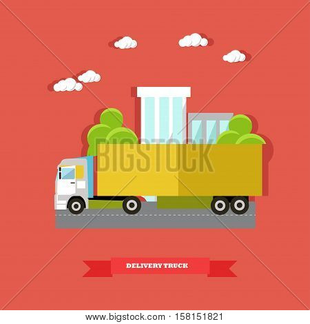 Delivery service concept vector illustration in flat style. Delivery truck, road vehicle. Logistics transportation.