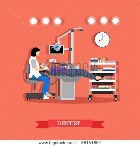 Dental medicine concept vector illustration in flat style. Dental clinic interior, equipment. Dentist is working with patient.
