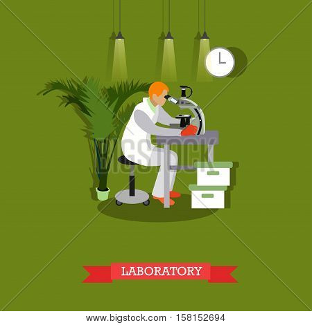 Vector illustration of man looking through microscope in flat style. Laboratory interior and equipment. Scientific research concept design element.