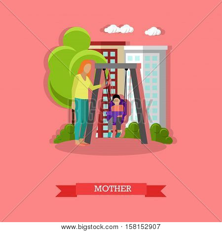 Vector illustration of mother swinging her son in the playground. Family concept design element in flat style.