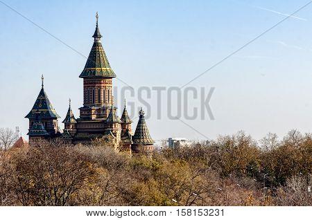 Metropolitan Orthodox Cathedral in Timisoara. Moldavian Byzantine style
