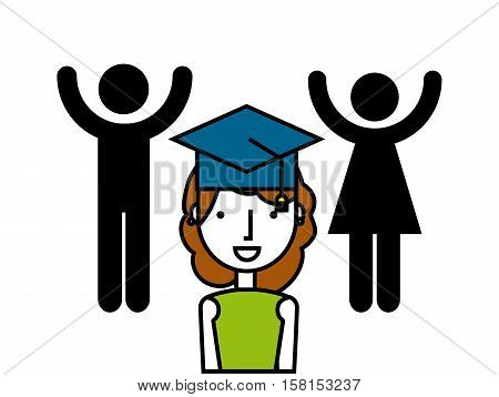 happy parents and graduate daughter over white background. pictogram design. vector illustraiton