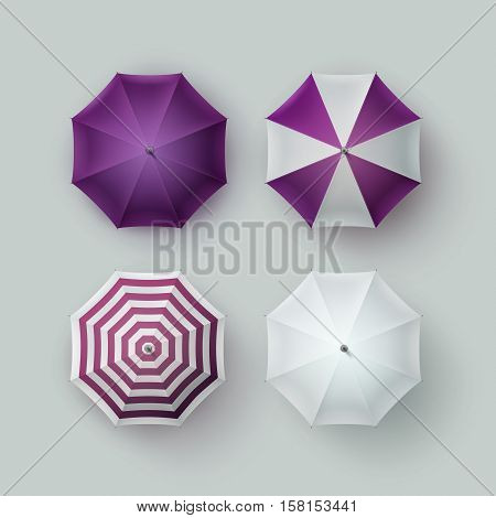 Vector Set of White Purple Violet Striped Blank Classic Opened Round Rain Umbrella Parasol Sunshade Top View Mock up Close up Isolated on Background