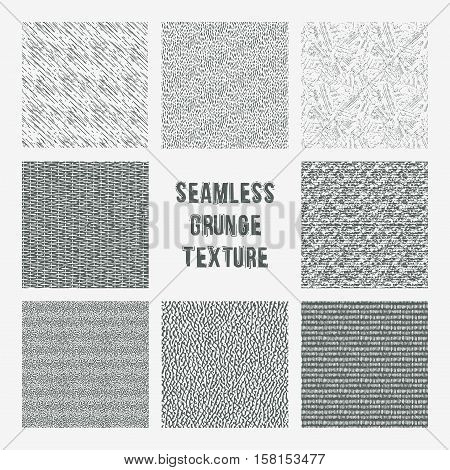 Set of grange seamless patterns. Simple vector scratch textures with dots strokes and doodles