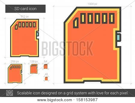 SD card vector line icon isolated on white background. SD card line icon for infographic, website or app. Scalable icon designed on a grid system.