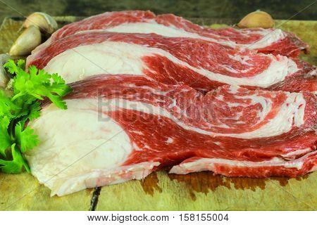 Slice brisket beef preparation for cooking food