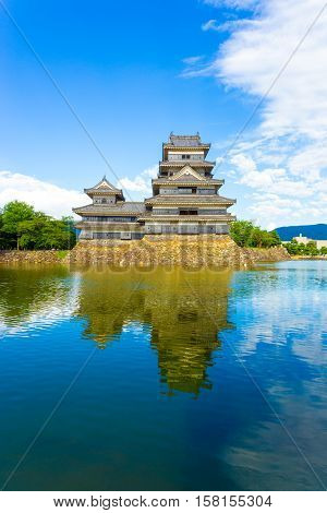 Matsumoto Castle Front Keep Moat Reflection