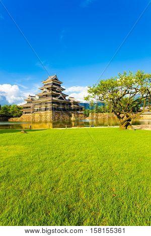 Matsumoto Castle Park Lawn Moat Copy Space V