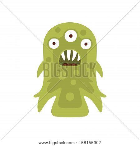 Green Three-eyed Aggressive Malignant Bacteria Monster With Sharp Teeth Cartoon Vector Illustration. Colorful Alien Virus Microorganism Unfriendly Character Flat Drawing.