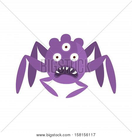 Purple Spider Shaped Aggressive Malignant Bacteria Monster With Sharp Teeth And Three Eyes Cartoon Vector Illustration. Colorful Alien Virus Microorganism Unfriendly Character Flat Drawing.